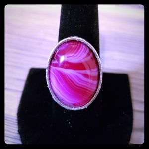 Natural Stone (Agate) Adjustable Silver Ring
